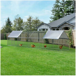 12.5ft Rabbits Large Metal House Habitat Cage Chicken Coop Walk-in Poultry Hen