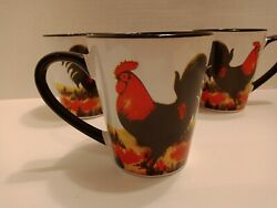 Unmarked Chicken Rooster Coffee Tea Mug Cup Set Of 4 Farm House Kitchen Poultry