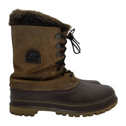 Sorel Steel Shank Mens Mid-calf Snow Winter Boots Brown Lace Up Duck Toe 9