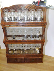 Vintage Wooden Three Level Spice Rack With 18 Glass Jars And 2 Drawers