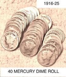 Wow 1916-1925 Mercury Dime Roll Winged Liberty 10c In Bank Roll 40 Piece Lot