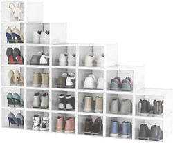 Shoe Boxes Clear Plastic Stackable,24 Pack Shoe Storage Boxes Fit Up To Us Size