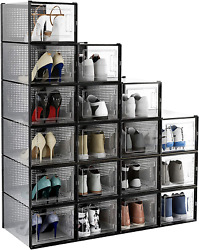 East Loft 18 Pack Extra Large Clear Plastic Shoe Box Storage Organizer - Stackab