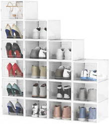 Shoe Boxes Clear Plastic Stackable,18 Pack Shoe Storage Boxes Fit Up To Us Size