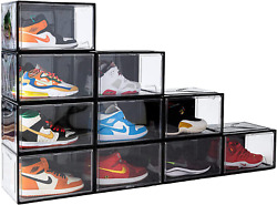 10 Pack Shoe Storage Bins, Clear Shoe Boxes Stackable Sneaker Display Organizer