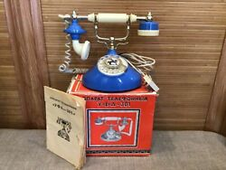 Vintage 1990 Old Antique French Style Desk Rotary Dial Phone Blue Made In Ussr