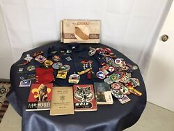 Bsa Boy Scout Cub Scout Items 100+ Assorted Patches Chukka Pins Books Shirt