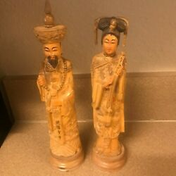 Vintage Hand Carve Paint Sign Wood 9 Lady 10 Man Royal Chinese Couple Figurines