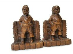 Vtg 40's Ornawood Pirate Wood Bookends