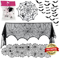 Owude 5 Pack Halloween Decorations Sets - Fireplace Mantel Scarf And Lace Tableclo