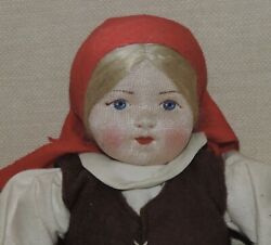 Vintage Russian Stockinette Girl Doll 10 Labeled 8092 Made In Soviet Union