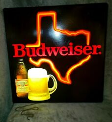 Vintage Budweiser Beer Neon Lighted Tin Bar Sign - State Of Texas - Rare
