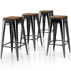 Timate 4x 30 Metal Bar Stools Bar Chair Solid Wood Seat Backless Home Kitchen