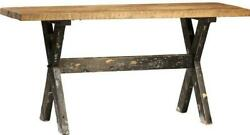 Puebla Counter Table Natural Distressed Antique Black Paint Solid Recl