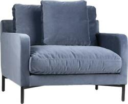 Victoria Sofa 1-seat Dust Blue Metal Fabric Feather Fill Cotton Blend Bras