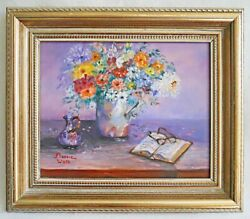 Vermont Vintage Painting Flowers Naive Still Life Book Reading Glasses Wolk
