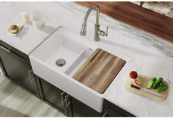 Elkay Swuf3320wh Fireclay 60/40 Double Bowl Farmhouse Sink With Aqua Divide,