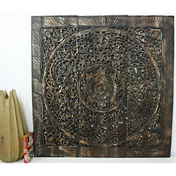 Hand-carved Black Stained Lotus Teak Wood Wall Panel Handmade In Thailand