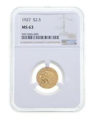 Ms63 1927 2.50 Indian Head Gold Quarter Eagle - Graded Ngc 4801