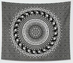NEW Mandala Tapestry Black and White Ombre Bohemian Wall Hanging 59 x 51