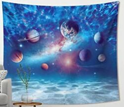 NEW Space Tapestry for Bedroom Ocean Galaxy Scenery Polyester 59 x 51