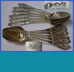 12 Coin Silver Spoons By Albert Coles 1835andndash1849 New York In Medallion Pattern