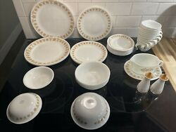 Butterfly Gold Set, 43 Pc Vintage Corelle Dishes- Serving And Table Ware Gravy