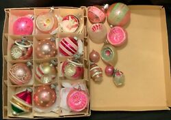 Vintage Pink Mercury Glass Christmas Ornaments - Shiny Brite And Others