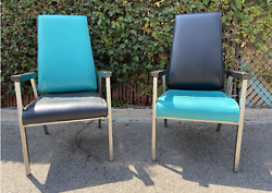 2 Rocking Retro Rockabilly Two Tone Teal And Black Mid Century Era Chairs