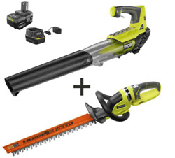 Ryobi 18v Electric Cordless Leaf Blower With Battery And Charger Hedge Trimmer