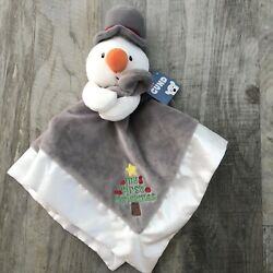 New Baby Gund Snowman Lovey My First Christmas Gray Security Blanket