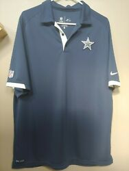 Dallas Cowboys Nike Dri-fit Polo Shirt Nfl Onfield Stay Cool Practice Large Navy