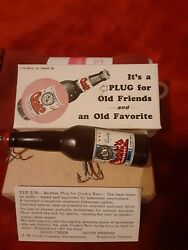 1950and039s F. W. Cookand039s Beer Bottle Fishing Lure Evansville Indiana Nib