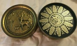 2 Vintage Collector Metal Tin Can Storage Containers Wood Legs Guildcraft Ny