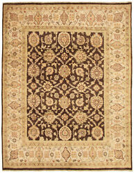 Vintage Hand-knotted Carpet 8and0390 X 9and03910 Traditional Dark Brown Wool Area Rug