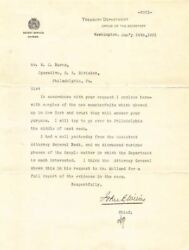 1901 Us Treasury Department Secret Service Signed Semple Counterfeiting Letter