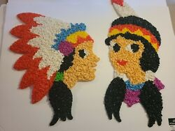 Melted Plastic Popcorn Decorations Boy And Girl Indians Thanksgiving Vintage
