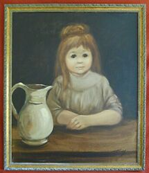 Big Eye Girl Antique Vintage Painting Victorian Dress Giant Pitcher Troys