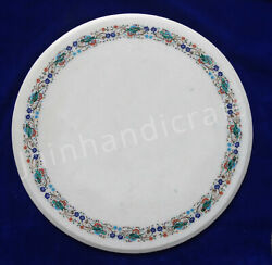 30and039and039 Table Top Antique Floral Inlay Stone Pietra Dura Work Handmade Home Decor V
