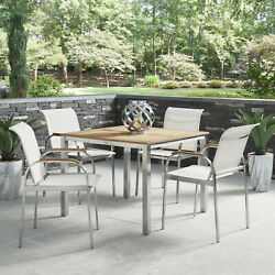 Home Styles Aruba Stainless Steel And Teak Outdoor 5 Pc. Dining Group