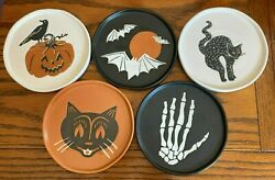 6 Stoneware Halloween Appetizer Plate Set Of 5 By Threshold