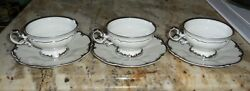 Qty 6 Hutschenreuther Revere Coffee Tea Cups And Saucers White And Platinum Trim
