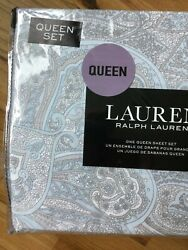 Queen 4 Piece Gray White And Blue Paisley 100 Cotton