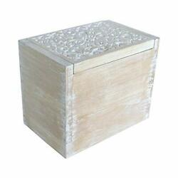 Nikky Home Rustic Carved Kitchen Wood Recipe Organization Box With Cards And ...