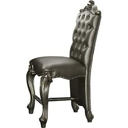 Acme Versailles Counter Height Chair Set-2 Silver Pu And Antique Platinum 24