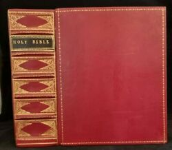 1703 King James Bible / Fine New Red Leather Gilt Binding / 184 Plates / Wow