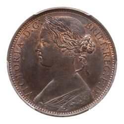 Great Britain Victoria 1868 1 Penny Coin Uncirculated Certified Pcgs Ms64-bn