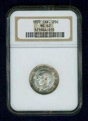 Canada George Vi 1939 25 Cents Silver Coin Uncirculated Ngc Certified Ms62