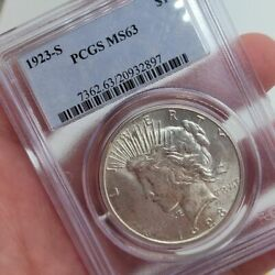1923-s Peace Silver 1 Dollar Pcgs Ms63 Graded Certified Free Ship Uncirculated