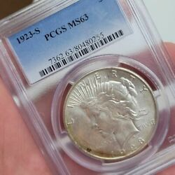 1923-s Peace Silver 1 Dollar Pcgs Ms64 Graded Certified Free Ship Uncirculated